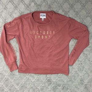 New Victoria's Sport pink sweater ruffle sleeves